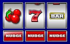 Three Reel Fruit Machine displaying a cherry, a seven and a bar.