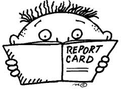 Cartoon drawing of a boy looking worriedly at a report card.