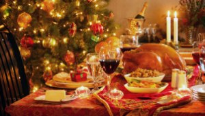 A table laid out for Christmas Dinner