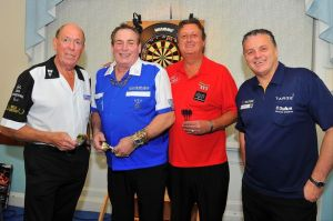 Left to right: John Lowe, Bobby George, Eric Bristow and Keith Deller
